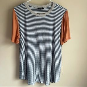 Roolee Ribbed Striped Short Sleeve Tee T-shirt
